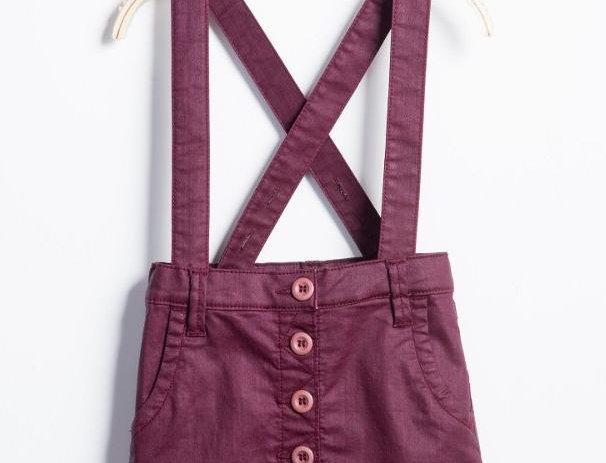 Purple Coated Denim Overall Skirt