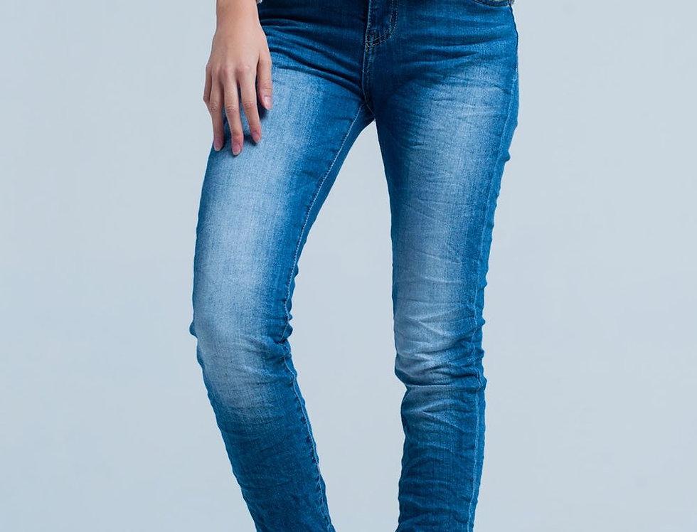 Dark Wash Wrinkled Skinny Jeans