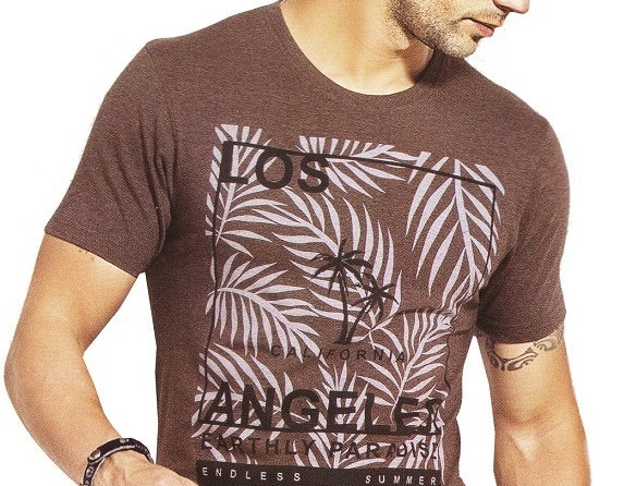 Mens Hosiery Printed Men Tshirts (Brown, S)