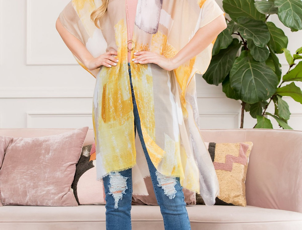 Hdf2673yw - Yellow Light Distressed Paint Open Front Kimono