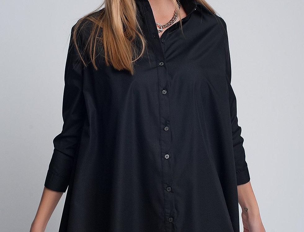 Oversized Poplin Shirt in Black