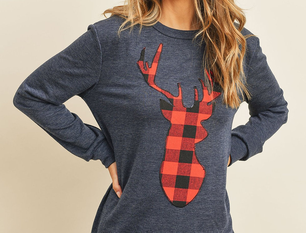 French Terry Long Sleeve Plaid Reindeer Print Top
