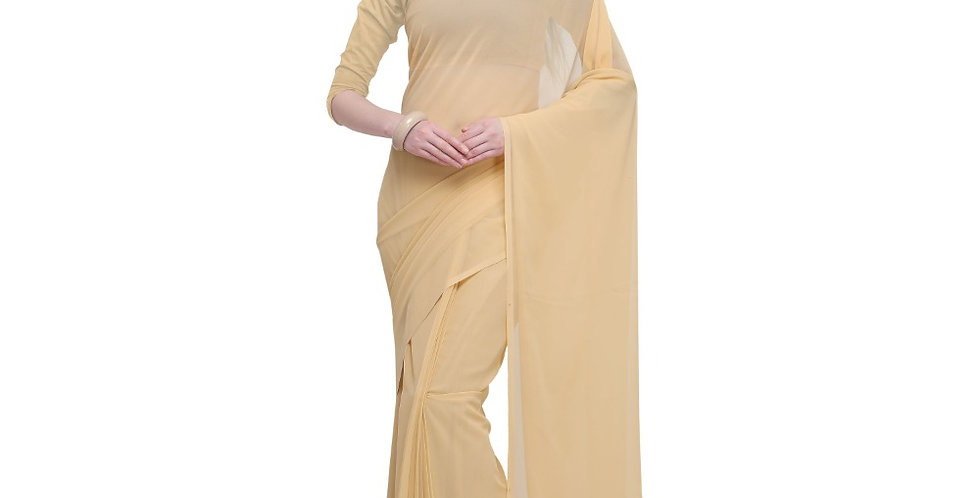 Women's Dyed Saree(Cream,5-6 Mtrs)