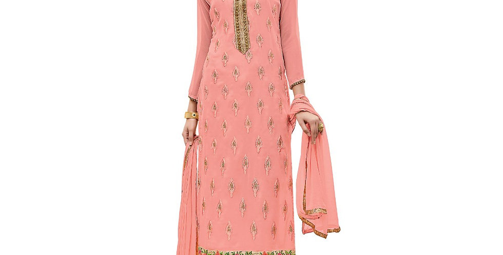 Georgette Fabric Peach Color Dress Material
