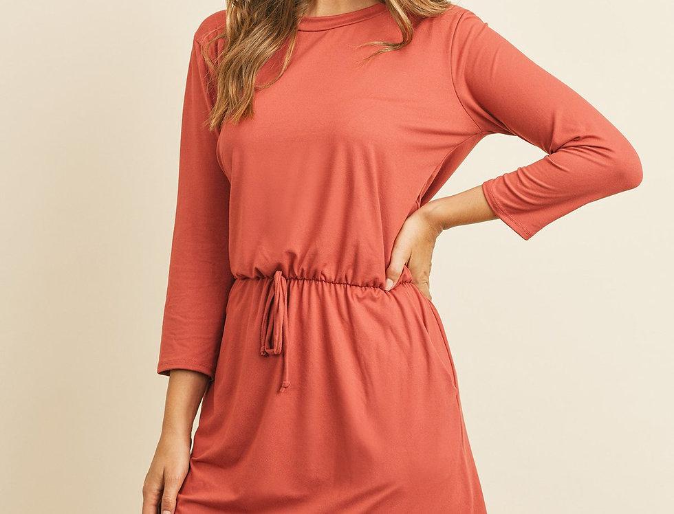 Cinch Waist 3/4 Sleeve Dress
