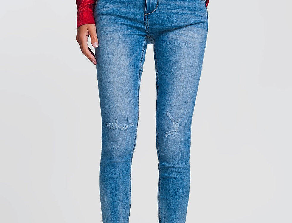 Light Denim Skinny Jeans With Folded Ankles and Ripped Detail