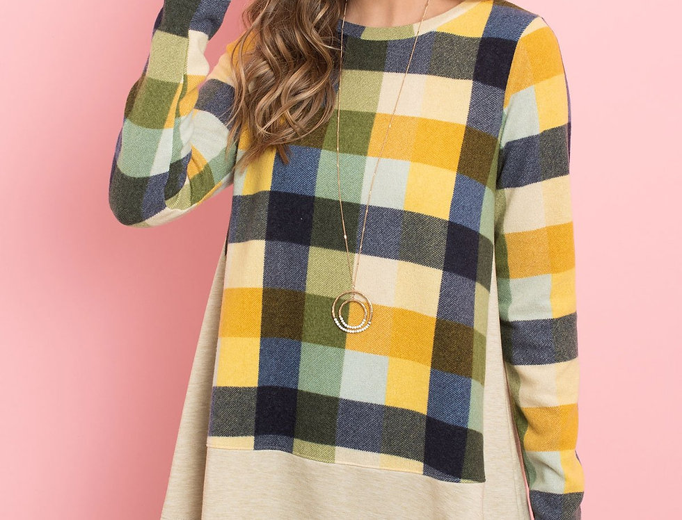 Plaid Long Sleeves French Terry Hem Top