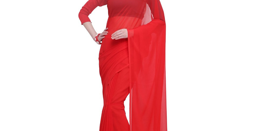 Women's Dyed Saree(Red,5-6 Mtrs)