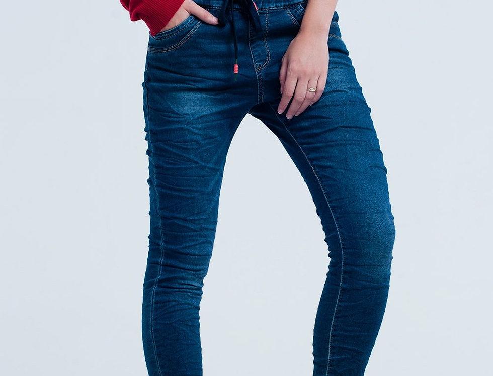 Boyfriend Dark Jeans With Elastic Waist