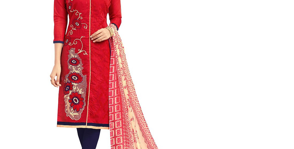 Chanderi Fabric Red Color Dress Material