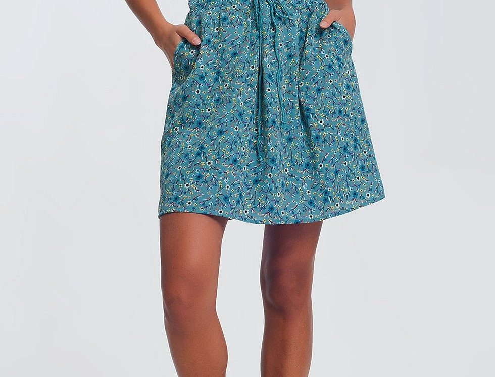 Floral Mini Skirt in Green