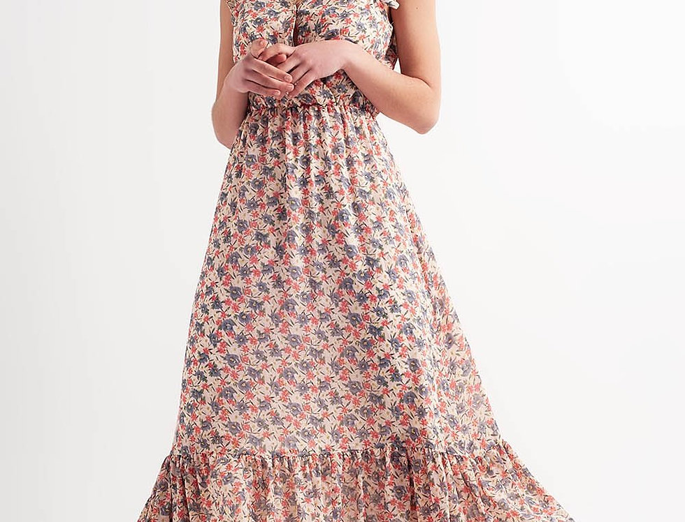 Long Sleeveless Pink Printed Dress