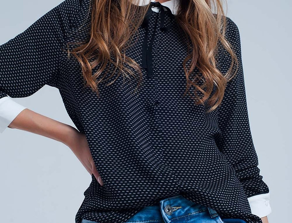 Black Blouse With White Accents