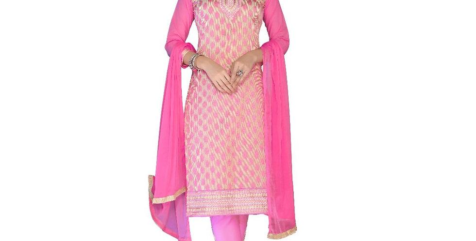 Glaze Cotton Fabric Light Pink Color Dress Material