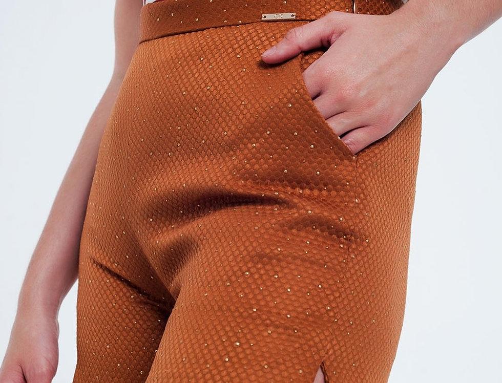 Embellished High Waist Short in Orange and Gold