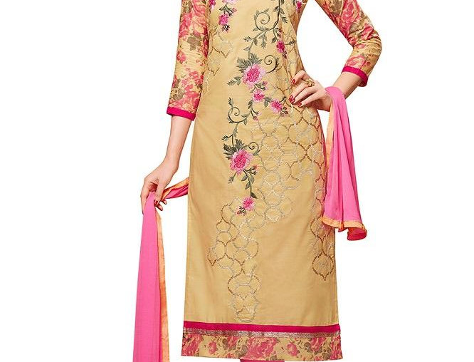 Beige Glaze Cotton Embroidered Party Wear Dress Material