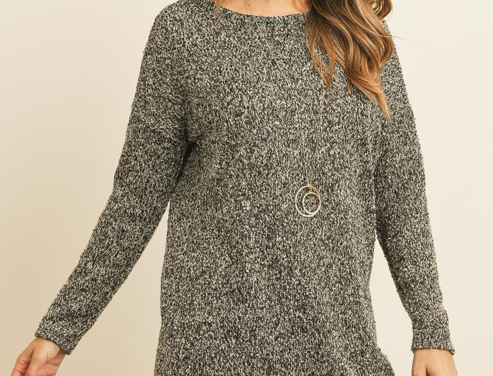 Long Sleeved Two Toned Hacci Tunic