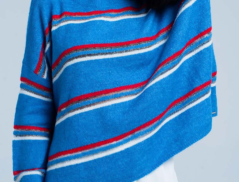 Blue Sweater With Red Glitter Stripes