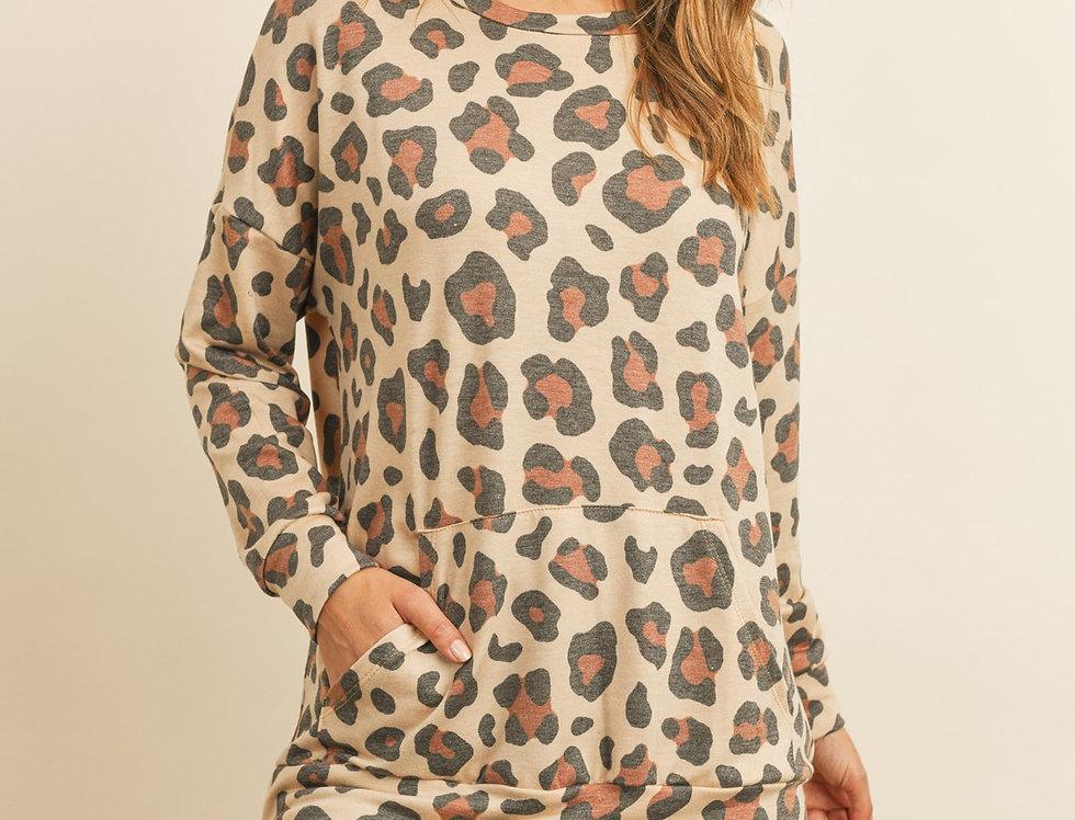 Kangaroo Pocket Long Sleeve Leopard Top