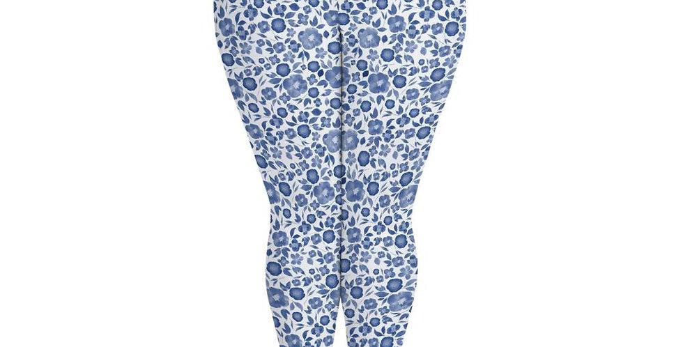 Classic Blue Watercolour Floral Plus Size Leggings