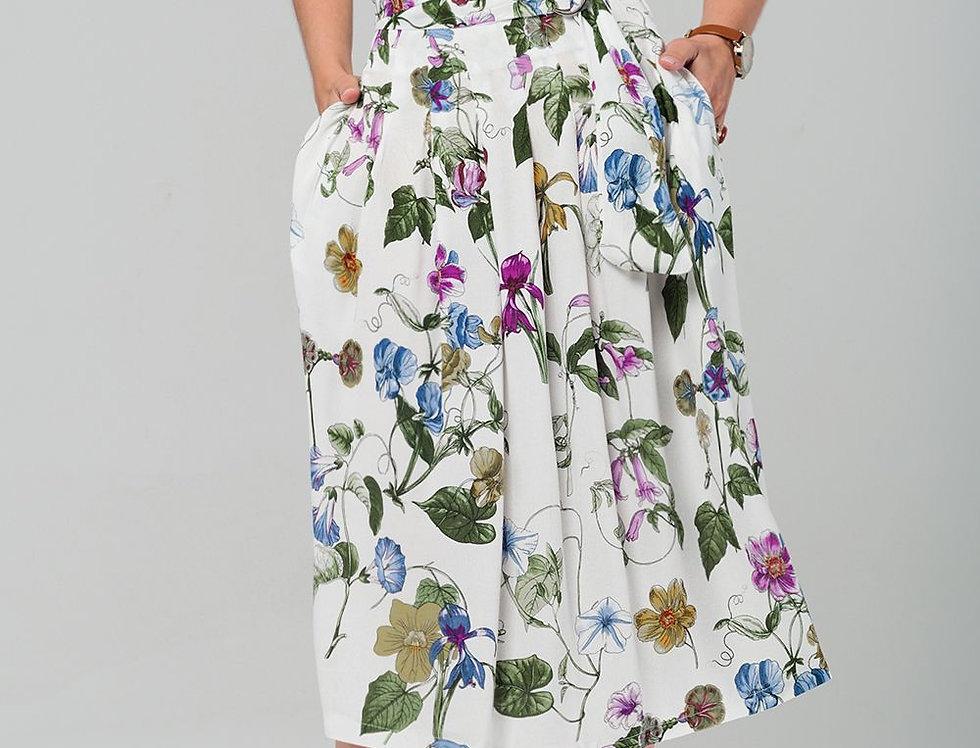 Floral Midi Skirt in White