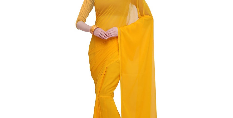 Women's Dyed Saree(Yellow,5-6 Mtrs)
