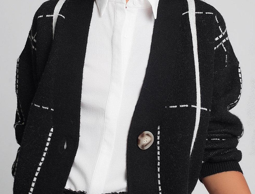 Button Through v Neck Cardigan in Black