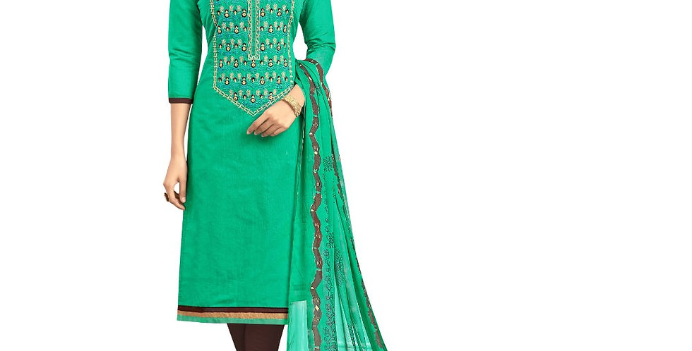 Chanderi Fabric Green Color Dress Material