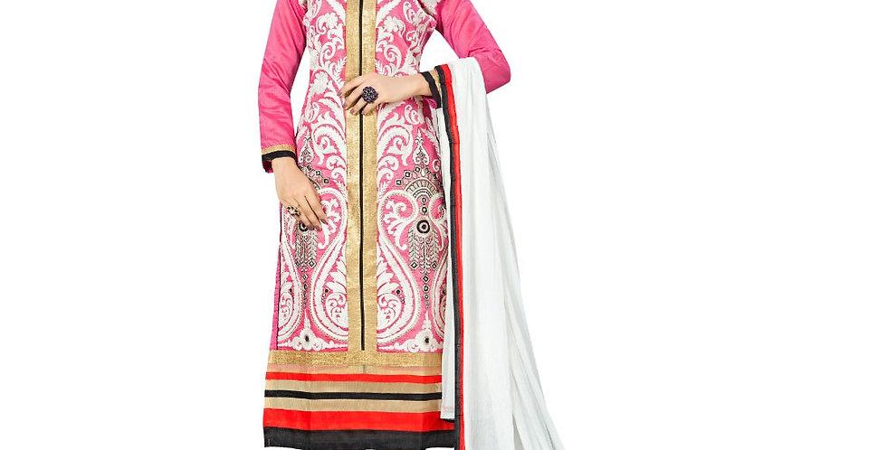 Chanderi Fabric Pink Color Dress Material