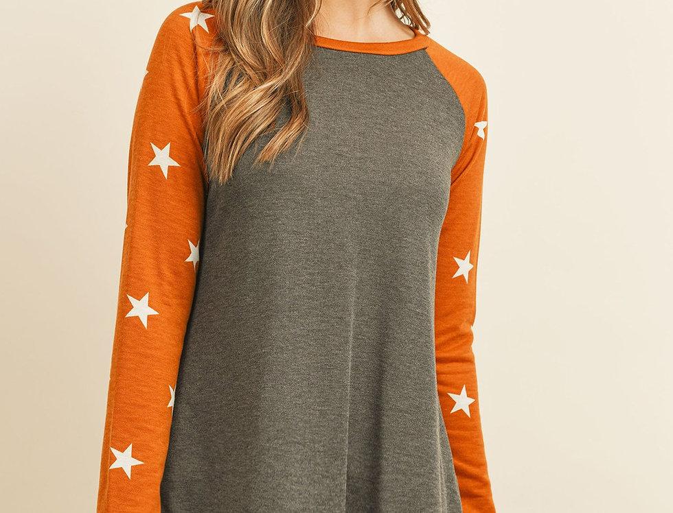 Star Contrast Sleeve Top