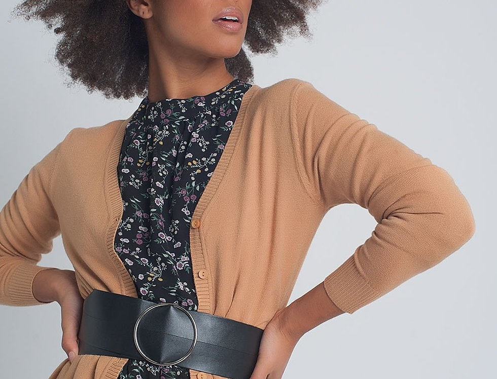 Button Front Cropped Knit Cardigan in Camel