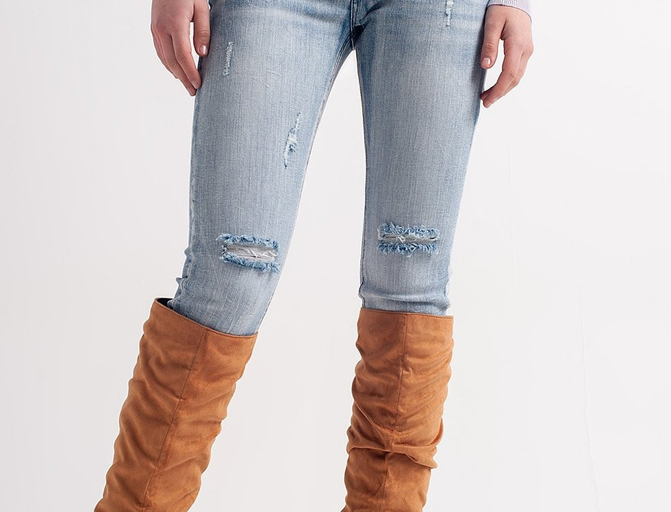Heather Skinny Leg Distressed Jeans With Button Detail in Light Blue