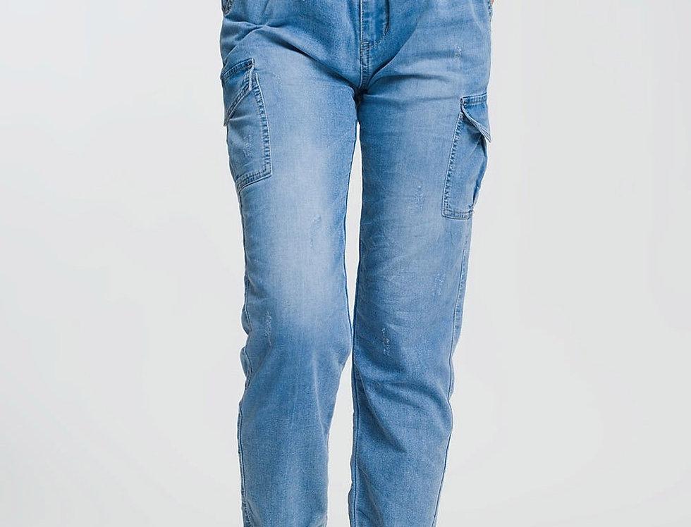 Paperbag Tie Waist Jeans in Light Blue