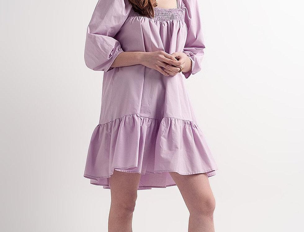 Cotton Poplin Mini Smock Dress With Pep Hem in Purple