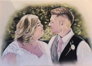 Wedding Day Pastel Portrait