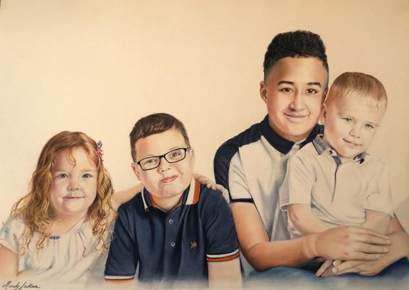 Family of four Pastel Portrait