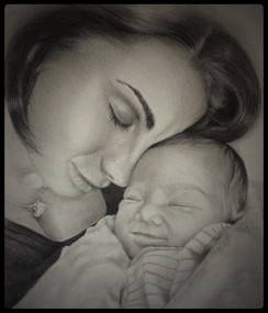 Mother & Baby Pencil Portrait