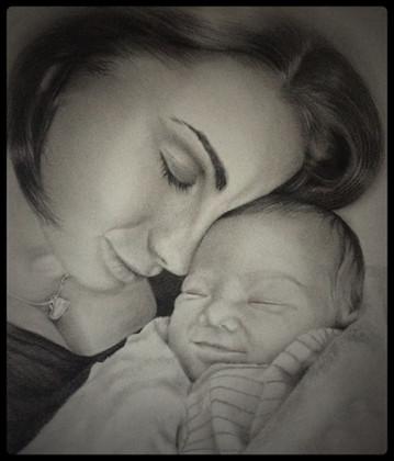 Mother & Baby Pencil Portrait