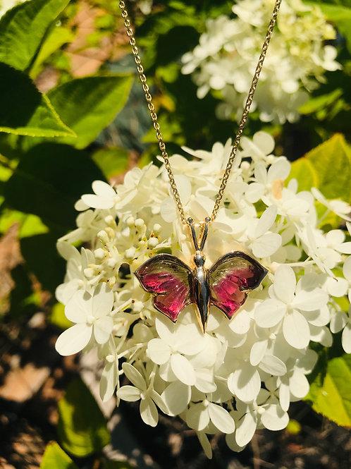 14k Watermelon Tourmaline Butterfly Necklace
