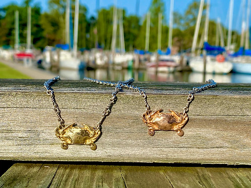 Claws Up Crab Sterling 14k Necklace