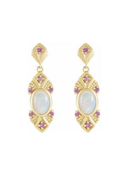 14k Ethiopian Opal and Pink Sapphire Earrings