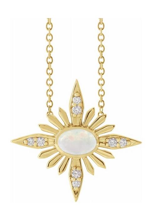 14k Ethiopian Opal Diamond Necklace