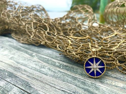 14k Lapis and Diamond Compass Necklace