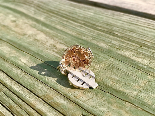 Sterling Crab Basket Charm with 14k Rose Gold Crab