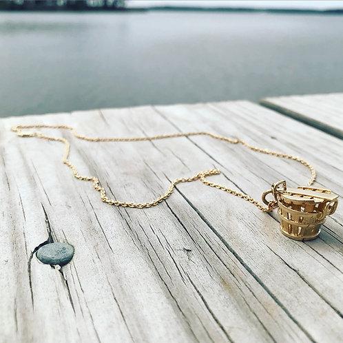 14k Yellow Gold Crab Basket Charm