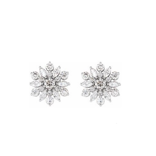 14k 1 CTW Snowflake Stud Earrings