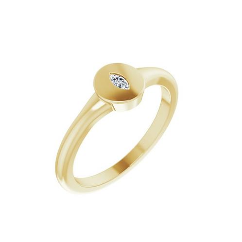 14k Diamond Signet Ring