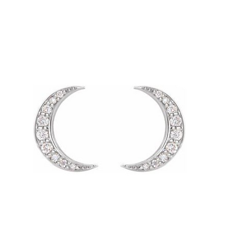 14k Diamond Crescent Moon Stud Earrings