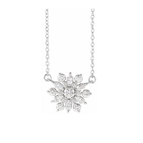 14k 1/2 CTW Snowflake Necklace