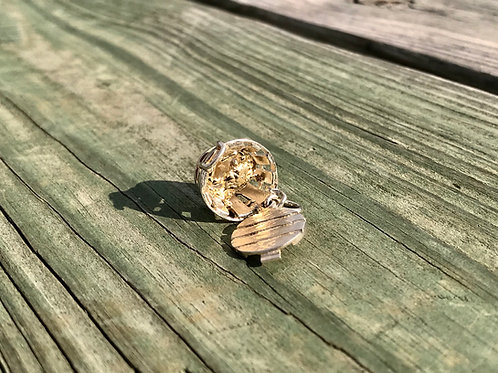 Sterling Crab Basket with 14k Yellow Crab Charm